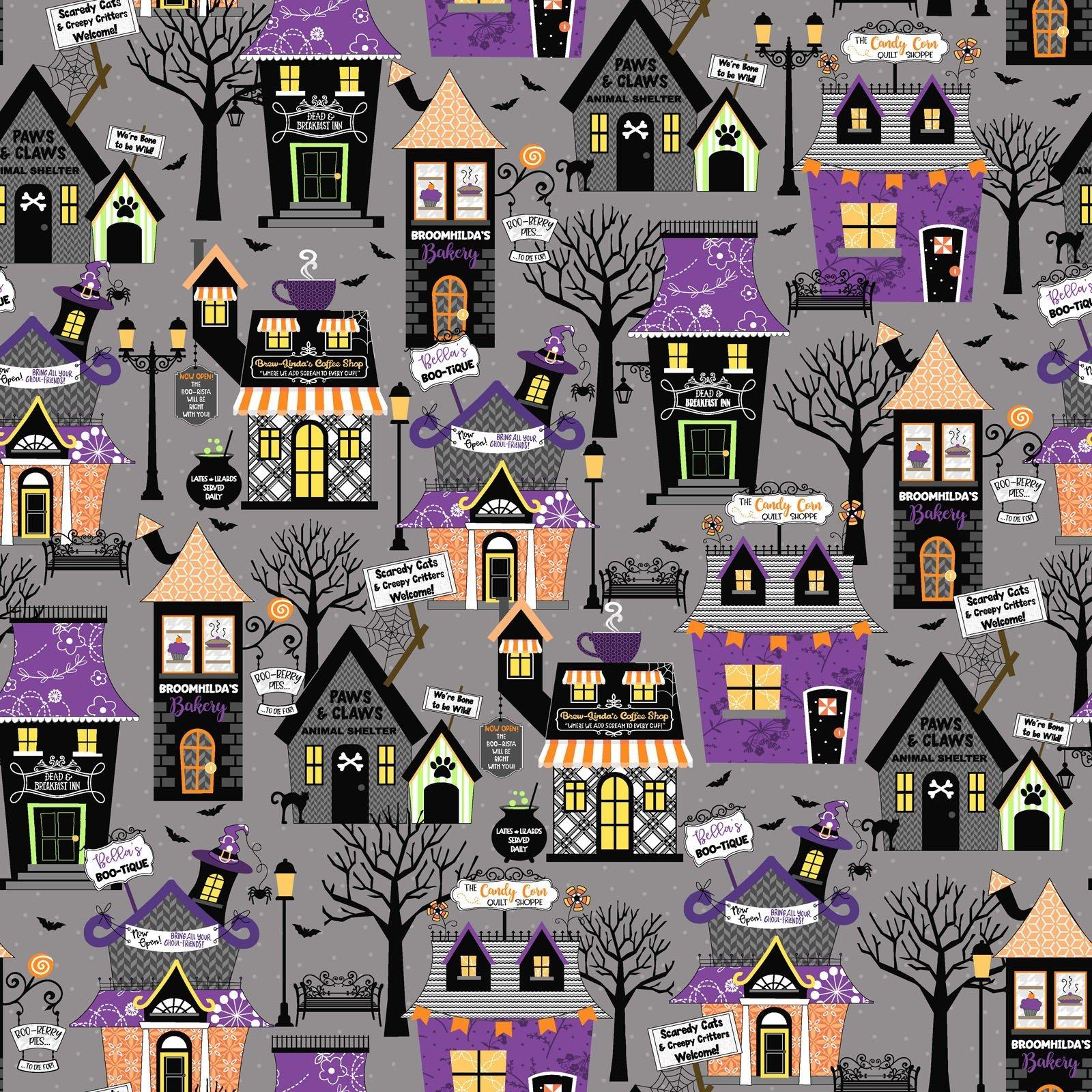Hometown Halloween  Fabric (Grey) by Maywood Studio (SBY)