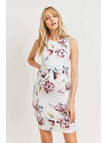 Floral Waist Tie Maternity Dress