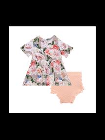 Cassie Short Sleeve Peplum Top And Bloomer 3-6M