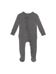Charcoal Ruffled Footie 3-6M