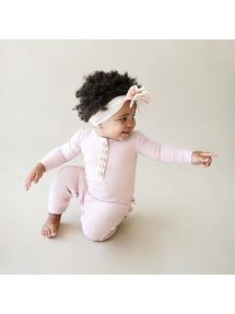 Solid Ribbed Ruffled Henley Romper Sweet Pink Sweet Pink 9-12M