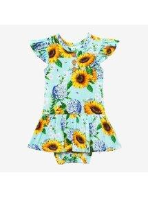 Sunny Ruffled Cap Sleeve Twirl Body Suit 3-6M