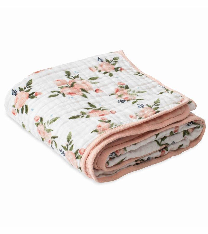 Cotton Muslin Quilt- Watercolor Rose