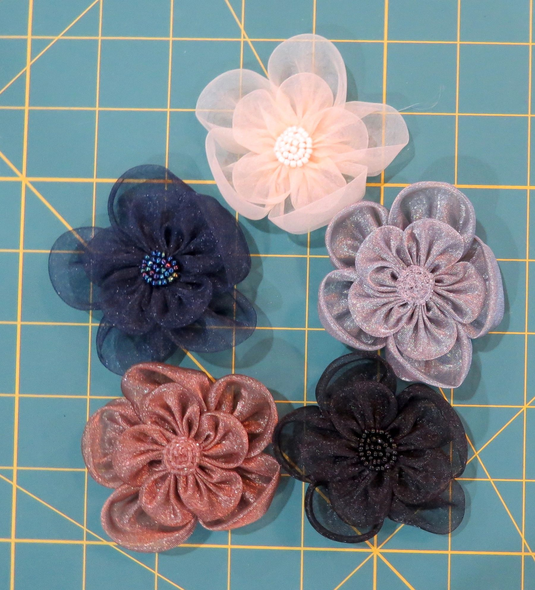 Organza Flowers with Beaded Centers