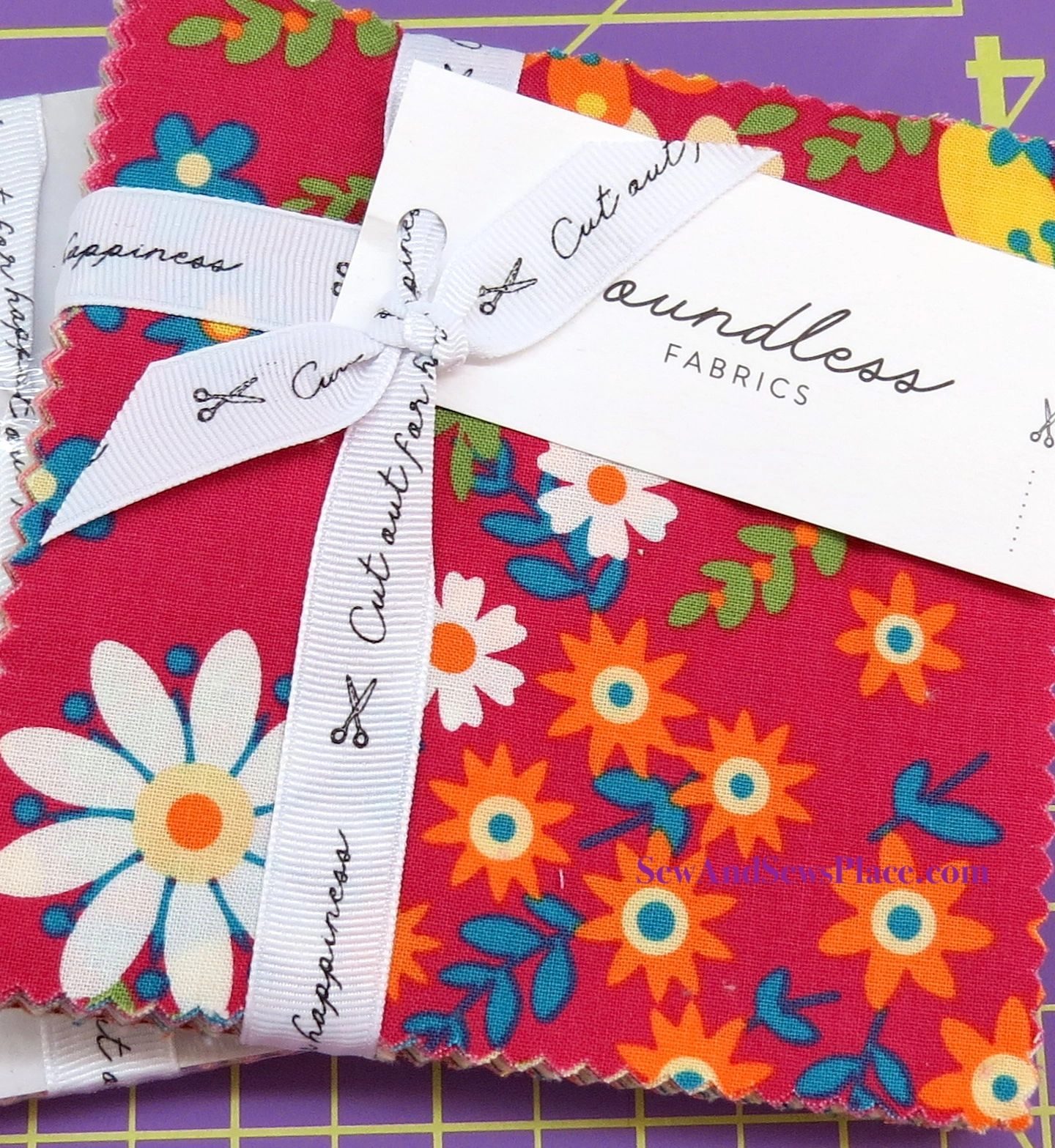 5 Pre-Cut Bright Florals Charm Squares by Boundless Fabrics