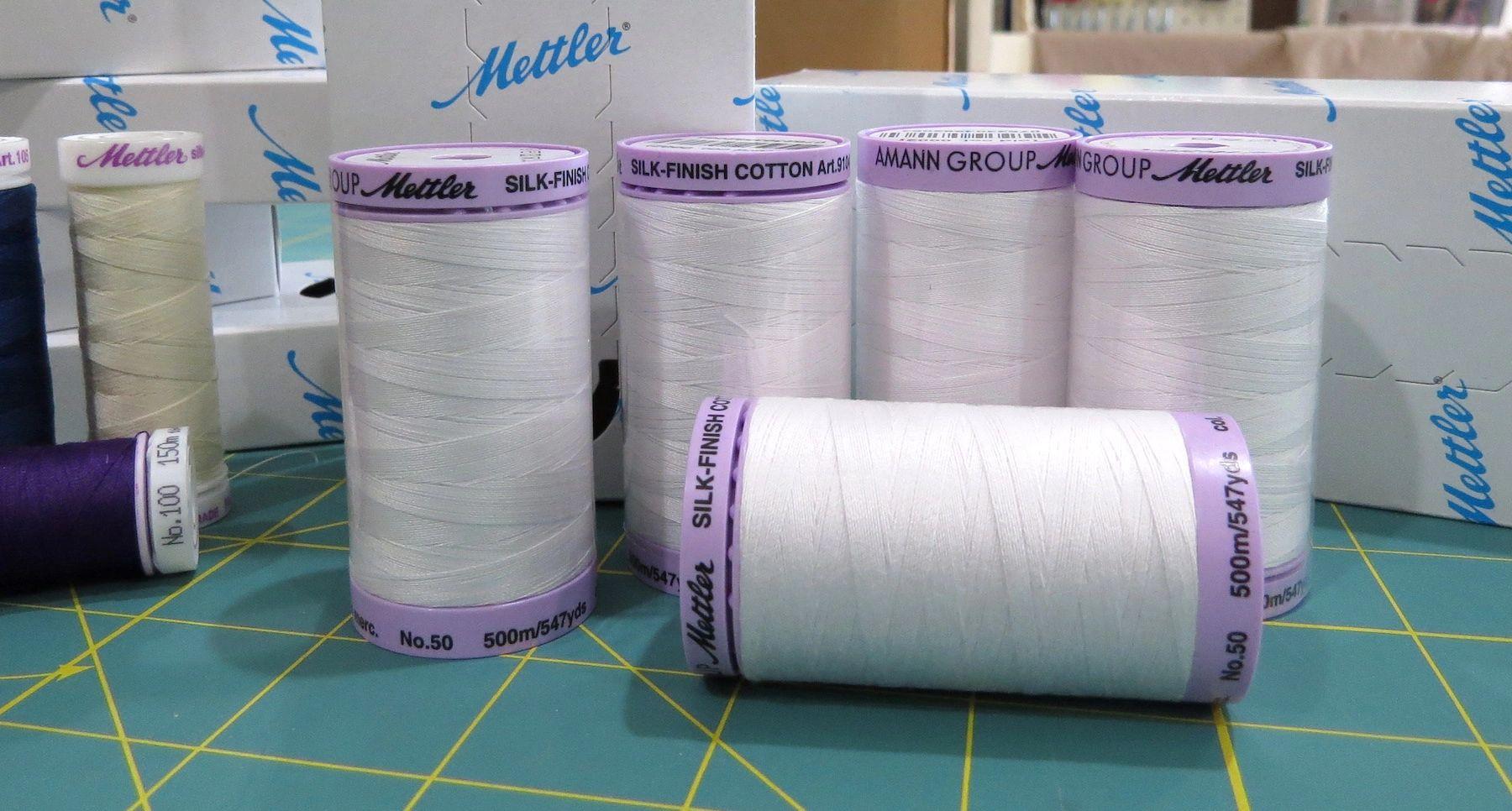 Mettler White Silk Wrapped Cotton Thread 547 Yd Spool