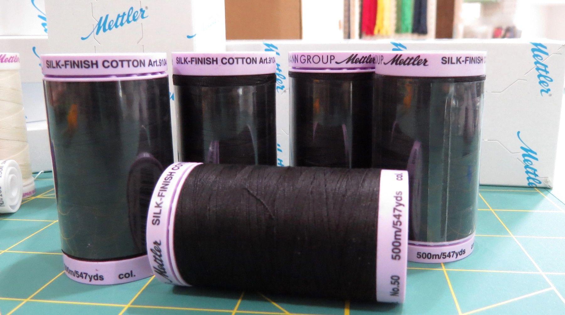 Mettler Black Silk Wrapped Cotton Thread 547 Yd Spool