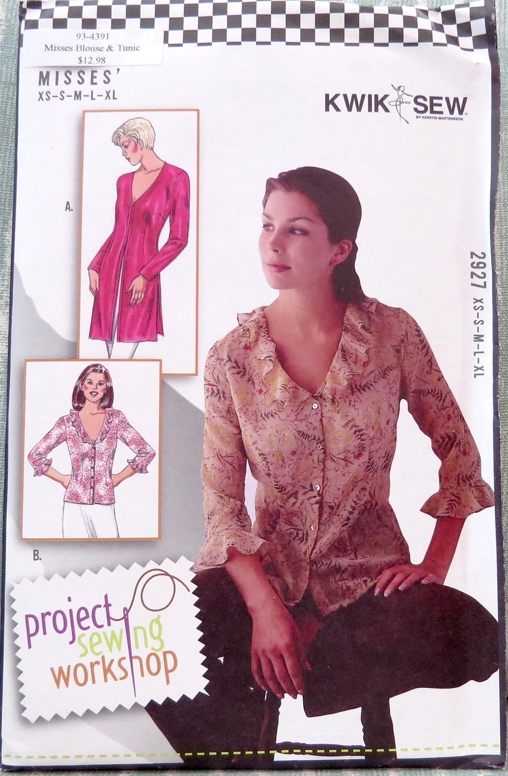 Misses Blouse & Tunic by Kwik Sew #2927 Project Sewing Workshop Pattern
