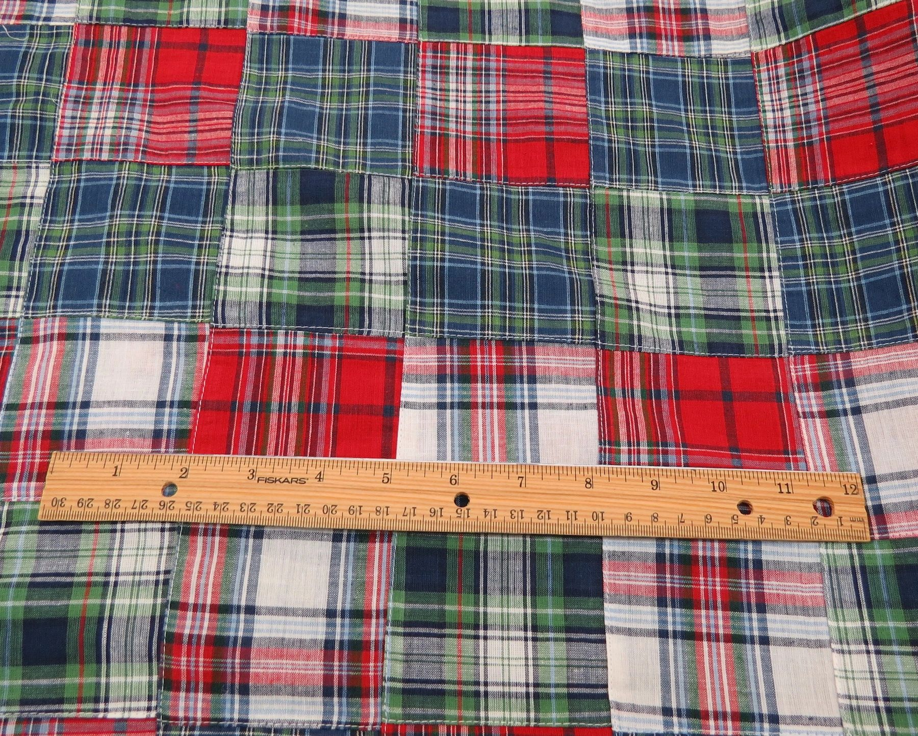 Madras Patchwork 100% Cotton Red/Green/Blue