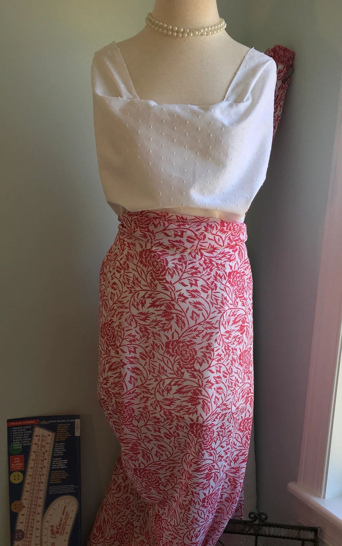 Pink and White Floral Chiffon