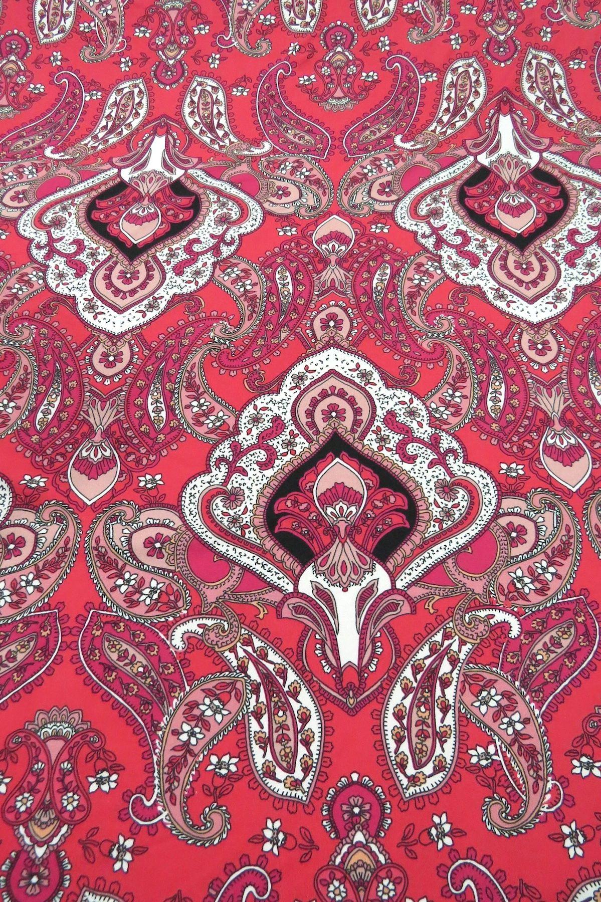 Deep Raspberry Pink/White/Black Stylized Paisley Print Double Brushed Jersey Knit