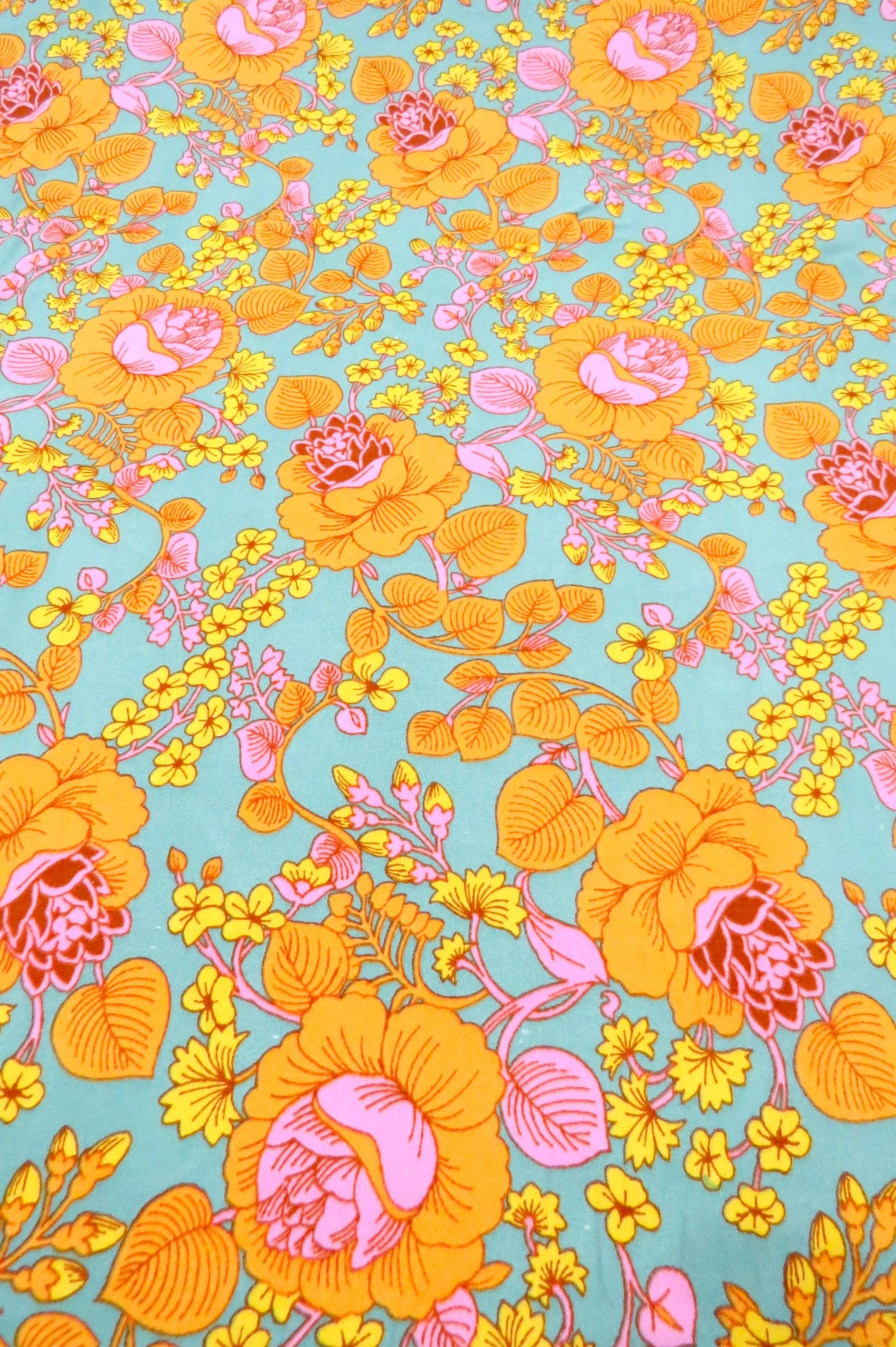 Light Moss Green Golden Yellow Orchid Pink Lemon Floral Branches Print Double Brushed Jersey Knit