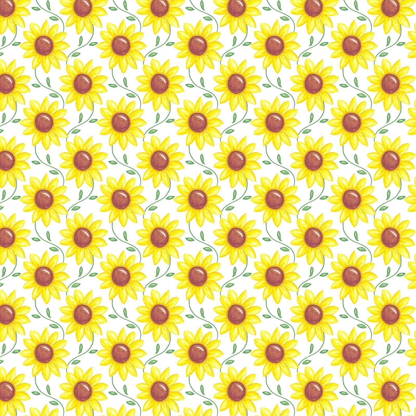 Scrolling Sunflowers White Rise N Shine Digital Print 100% Cotton