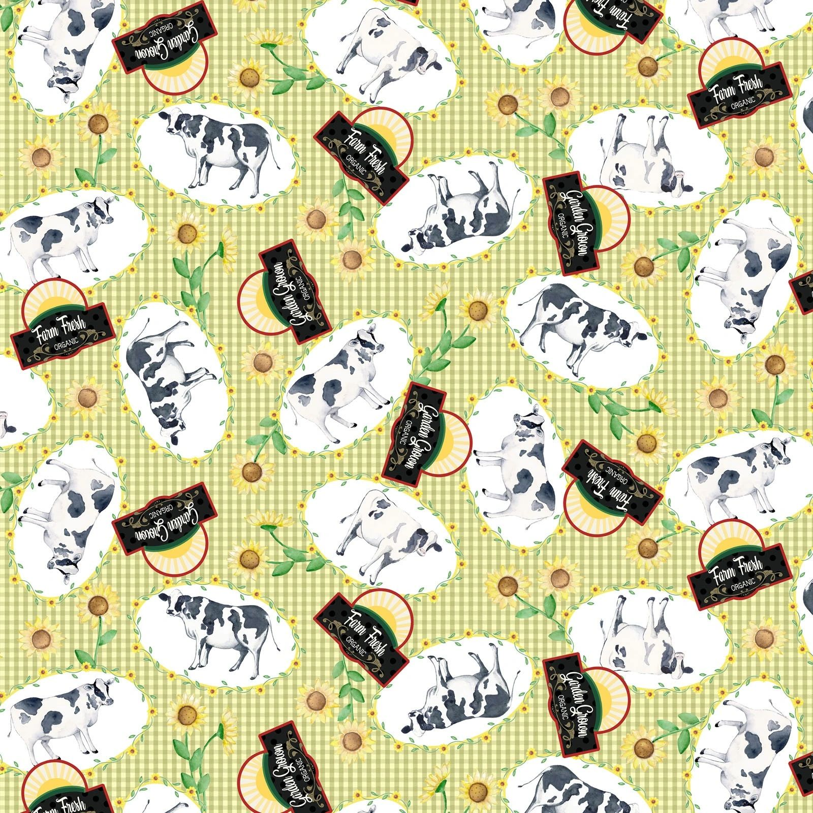 Cows on Plaid Green Rise N Shine Digital Print 100% Cotton