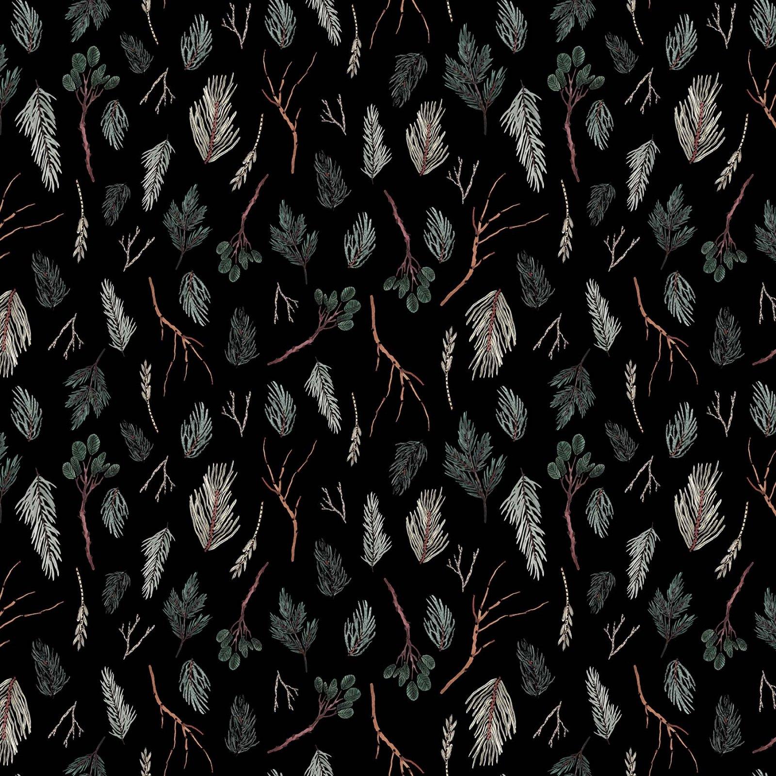 Twigs/Black Winter Frost by FIGO Fabrics