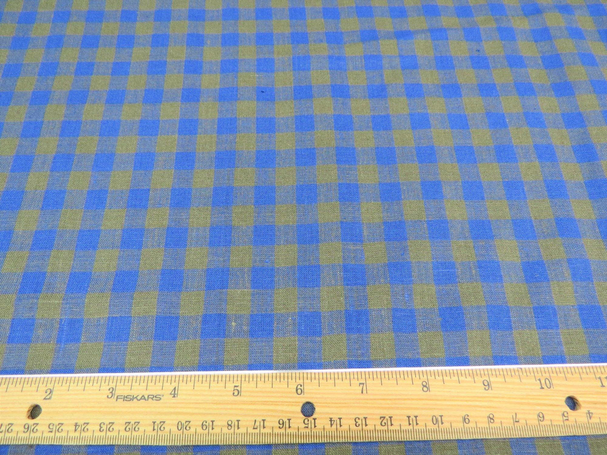 Cerulean Blue/Olive Green Plaid European Linen