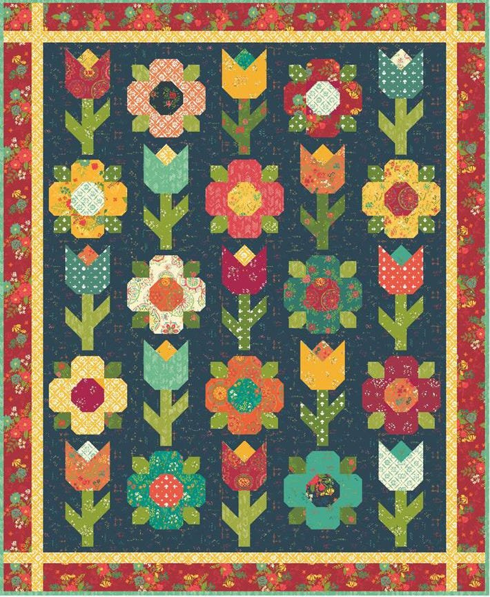 PRE ORDER Gift Boxed Midnight Garden Quilt Kit  62.5 x 71.5