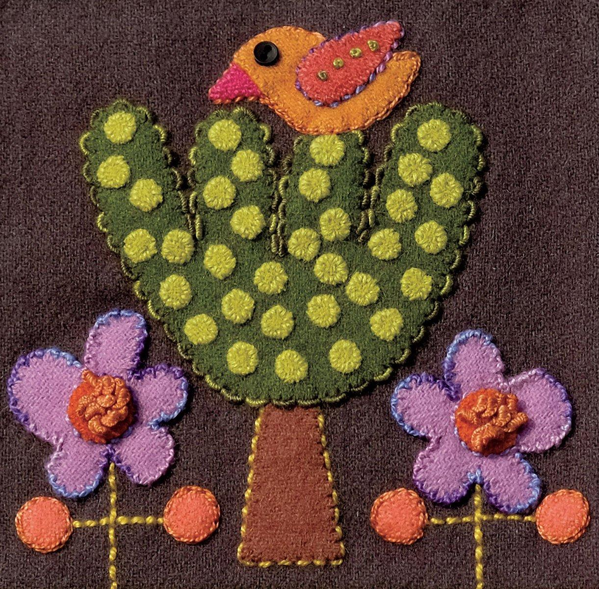 Sue Spargo Pre-Cut Wool Block Kit - Bird & Tree Colorway 2