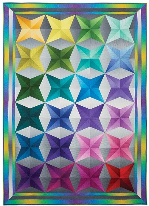Gorgeous Ombr? fabrics make this 58 x 82 throw-sized quilt glow and give it an almost 3D feel. Quilt kit includes pattern with Cheryl Phillips piecing directions and includes a special acrylic ruler and fabrics for the top and binding.