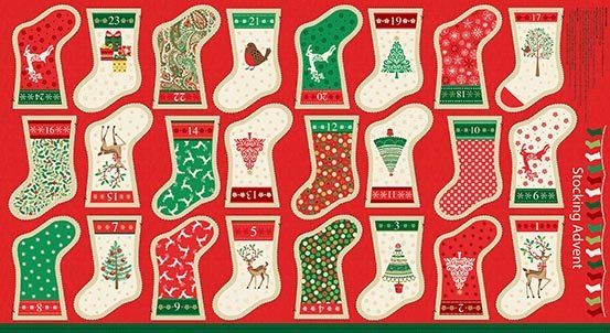 AN Traditional Metallic Christmas Stocking Panel