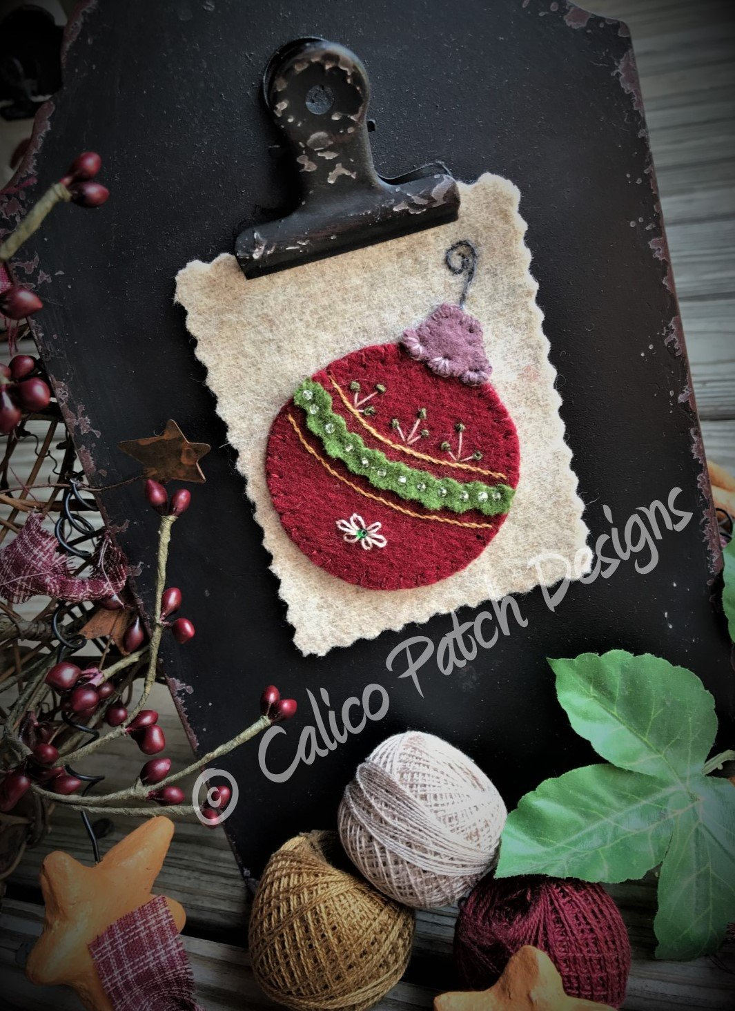 Calico Christmas Block 2 Tree Ornament