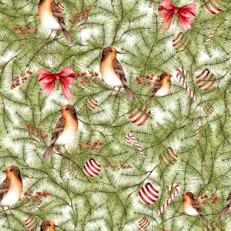 WINTER FOREST PINE WITH BIRDS