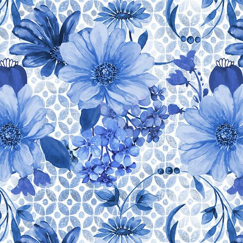 BLUE JUBILEE - MED. BLUE LARGE DAISY W/ SWIRL