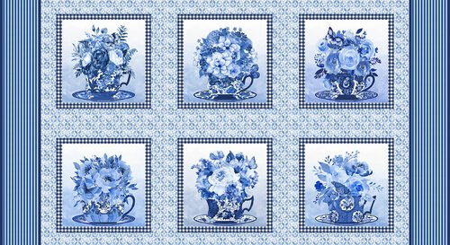 BLUE JUBILEE - PANEL MED. BLUE BLOCKS W/ TEACUPS & FLOWERS