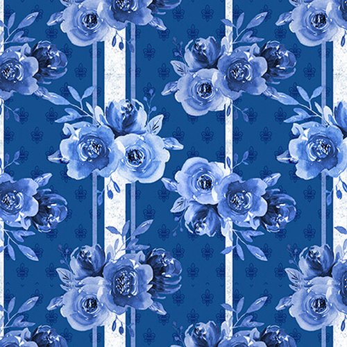 BLUE JUBILEE - DK BLUE FLORAL ON STRIPED BACKGROUND