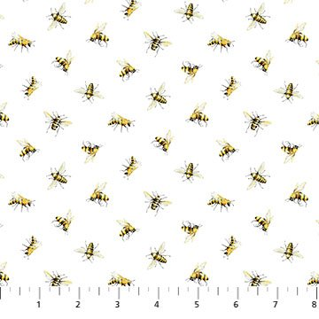 SCENTED GARDEN TOSSED BEES WHITE MULTI