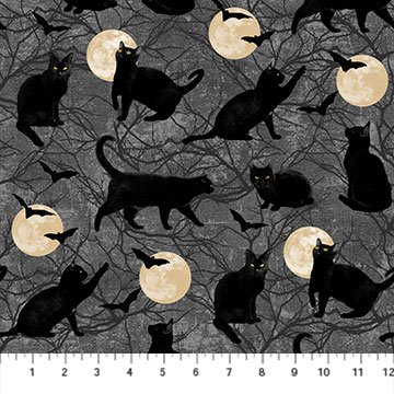 BLACK CAT CAPERS - CATS CHASIN MOON DARK GRAY