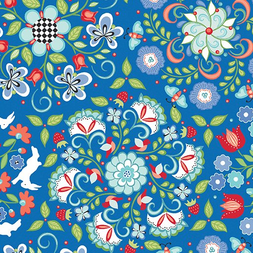 CLEARANCE FOLK ART FANTASY BLUE/RED