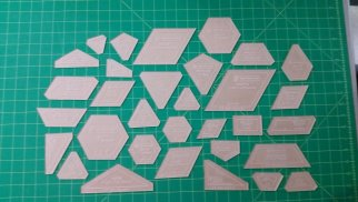 acrylicfabriccuttingtemplatesforthenewhexagonpieces32pieceset