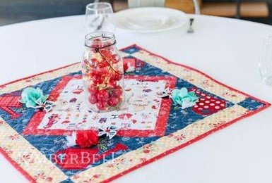 KIMBERBELL POSIES & PINWHEELS TABLE TOPPER KIT (RED, WHITE & BLOOM)