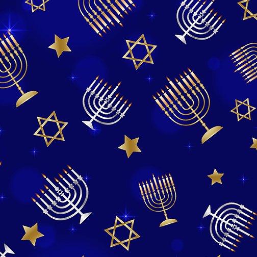 MENORAHS & STARS NAVY - FESTIVAL OF LIGHTS
