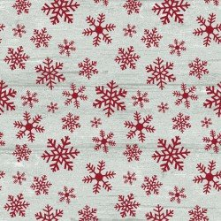 RUSTIC VILLAGE SNOWFLAKES STONE RED