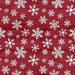 RUSTIC VILLAGE XMAS SNOWFLAKES RED