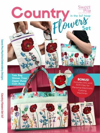 COUNTRY FLOWERS SET EMBROIDERY CD