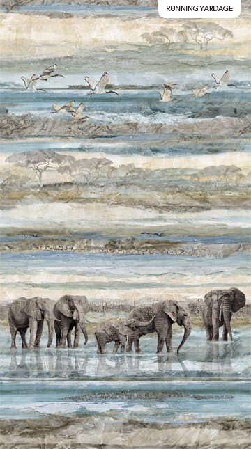 NEW DAWN - BLUE MULTI DAWN ELEPHANT DIGITAL PRINT