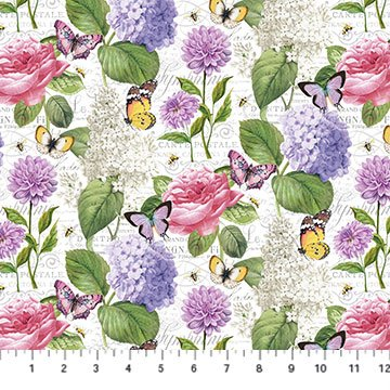 SCENTED GARDEN DIGITAL PRINT FEATURE FLORAL WHITE MULTI