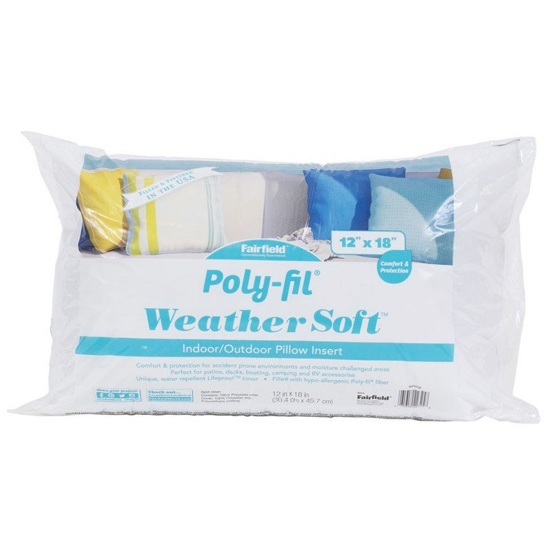WEATHER SOFT POLY FIL INDOOR/OUTDOOR PILLOW INSERT 12 X 18