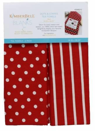 KD DOTS & STRIPES TEA TOWELS RED, SET OF 2