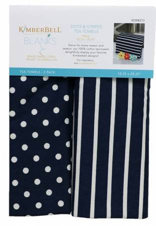 KD DOTS & STRIPES TEA TOWELS NAVY, SET OF 2