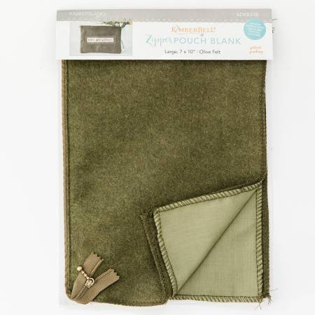 KIMBERBELL- OLIVE FELT ZIP POUCH LARGE BLANK