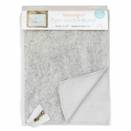 KIMBERBELL-HEATHER GREY FELT ZIP POUCH SMALL BLANK