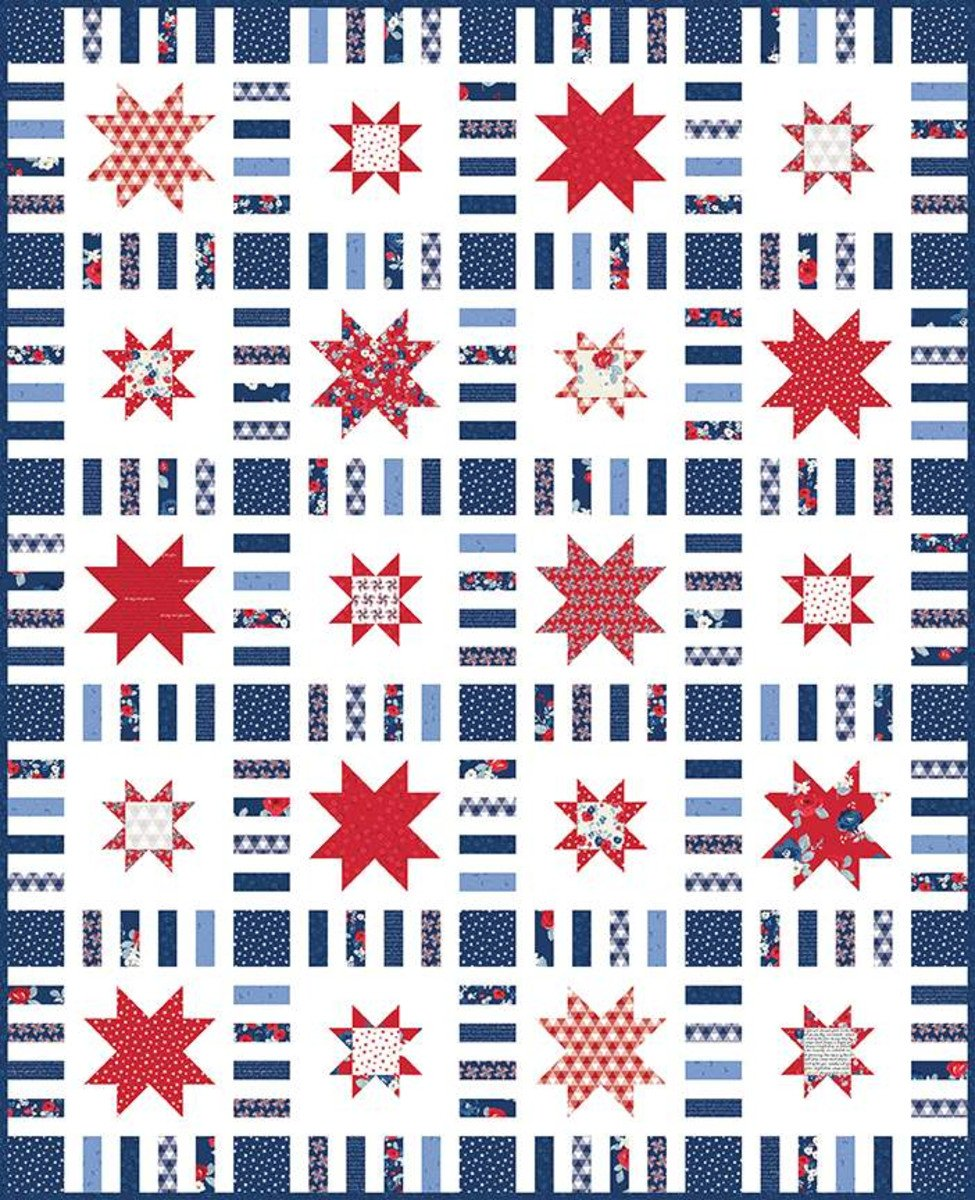 STARS IN STRIPES QUILT BOXED KIT BY RILEY BLAKE