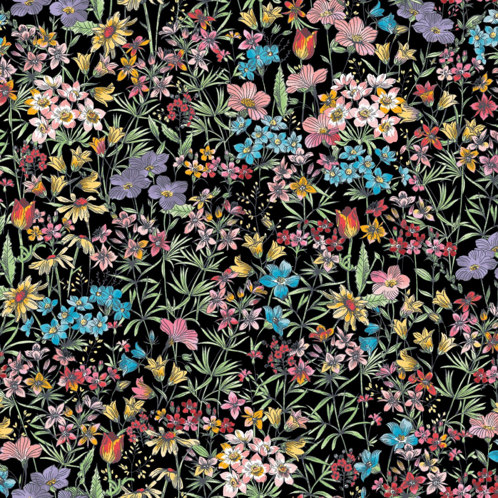 MEADOW EDGE SMALL PACKED FLOWER BLACK