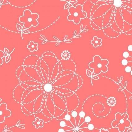 KIMBERBELL QUILT BACKS DOOBLES PEACHY PINK 108 WIDE