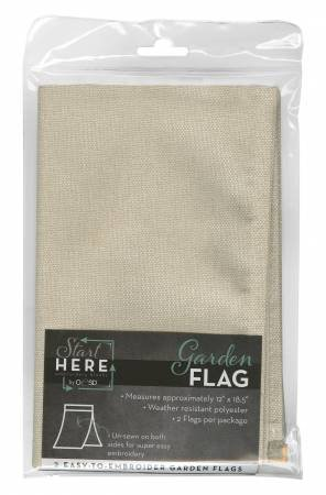 GARDEN FLAG - EASY TO EMBROIDER 2 PACK NATURAL