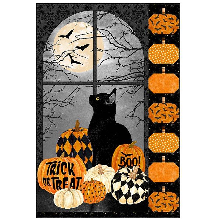BLACK CAT AND PUMPKINS PANEL PATTERN